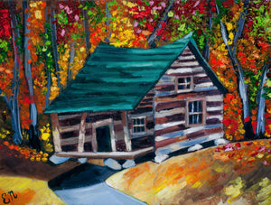 Autumn Cabin Woods Painting
