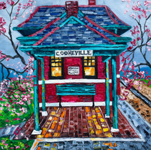 "Load image into Gallery viewer, ""Cookeville Depot Museum in Spring"" 16x16"