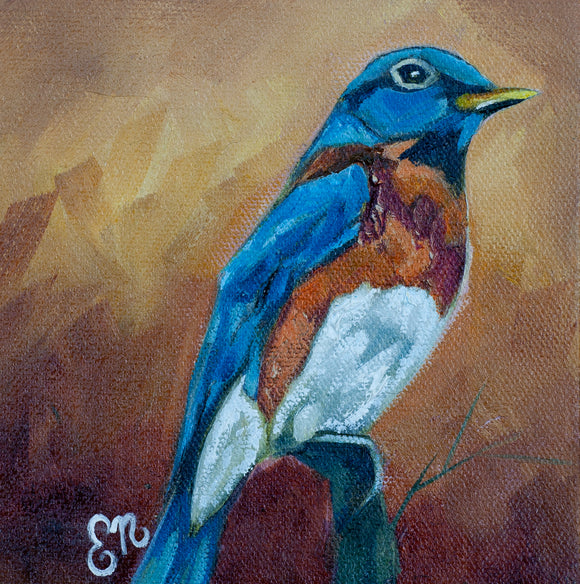 Bluebird 6x6 Original Painting