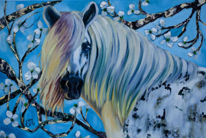 White Horse Painting with Cherry Blossoms Canvas Print