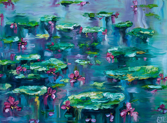 Lilly pad Waterlilies Painting Paper Print