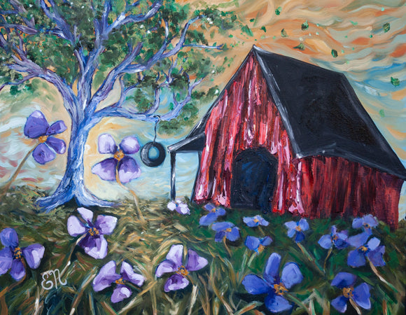 "Original  Red Barn and Flower Field painting titled ""When I Close My Eyes"""