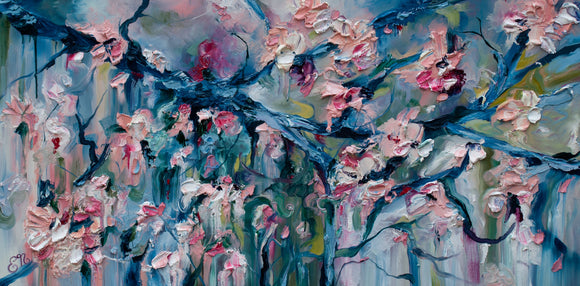 """Bloom"" 24x48 Original Cherry Blossoms Oil painting on Canvas"