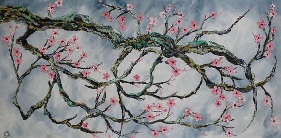 "Original oil painting titled ""Spring Solstice"" 24 x 48"