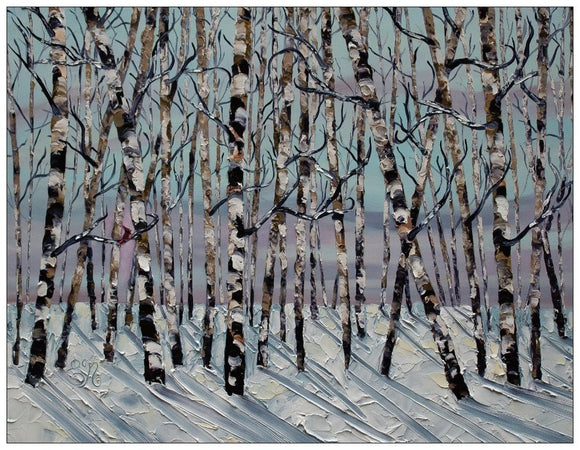 Winter Birch Trees greeting cards