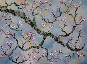 Large Textured Cherry Blossom Branch Painting On Canvas