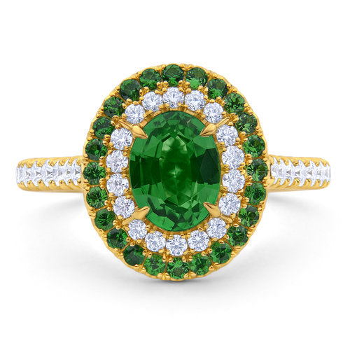 Miss Diamond Ring white and green Tsavorite halo pave jewelry
