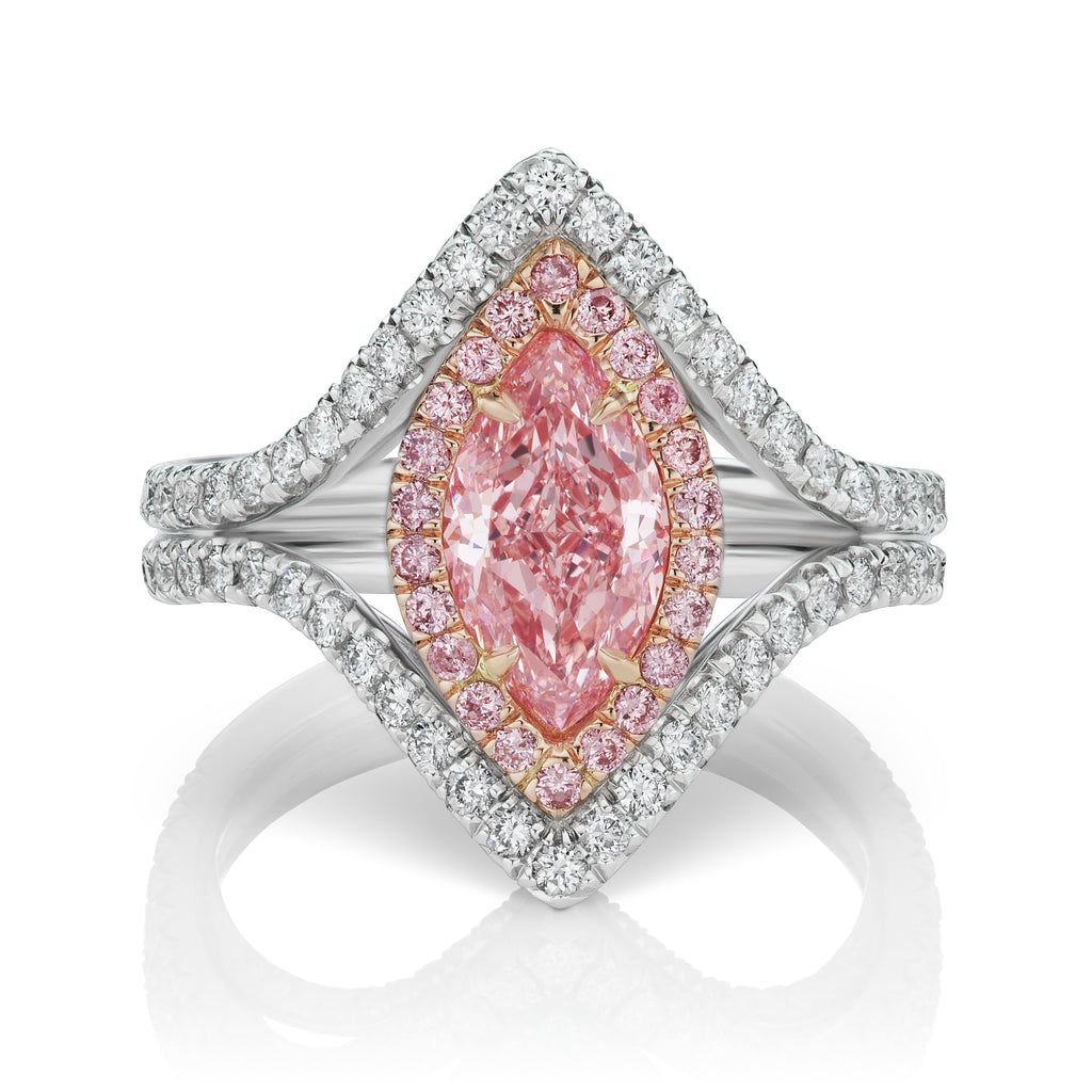 Miss Diamond Ring fancy pink orange marquise ring with pave detail