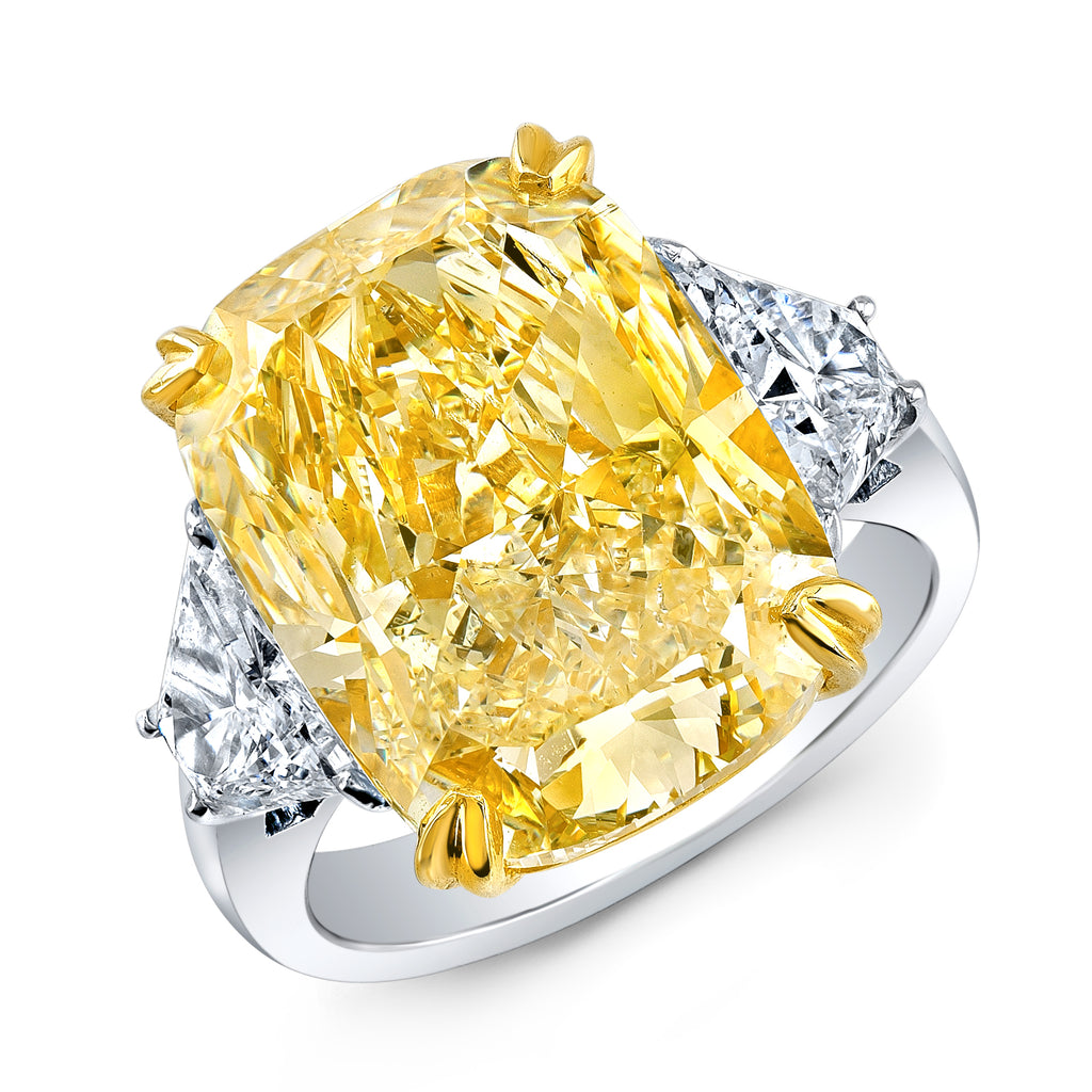Miss Diamond Ring 10 yellow cushion three stone trapezoid rings