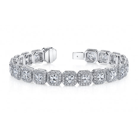 Miss Diamond Ring diamond tennis bracelet halo pave cushion