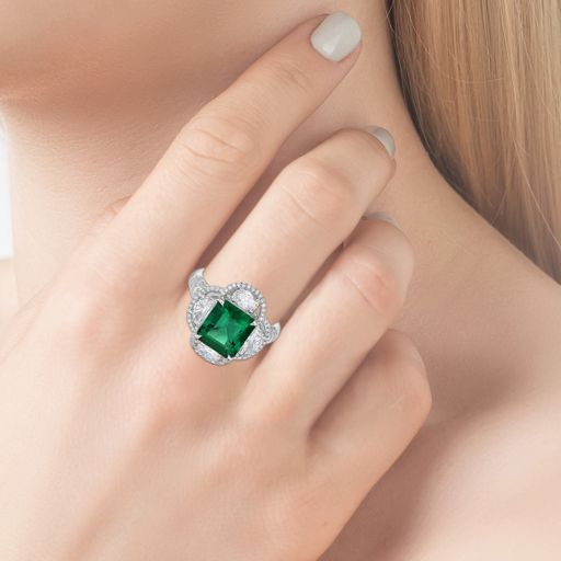3.42 Emerald Clover Diamond Ring