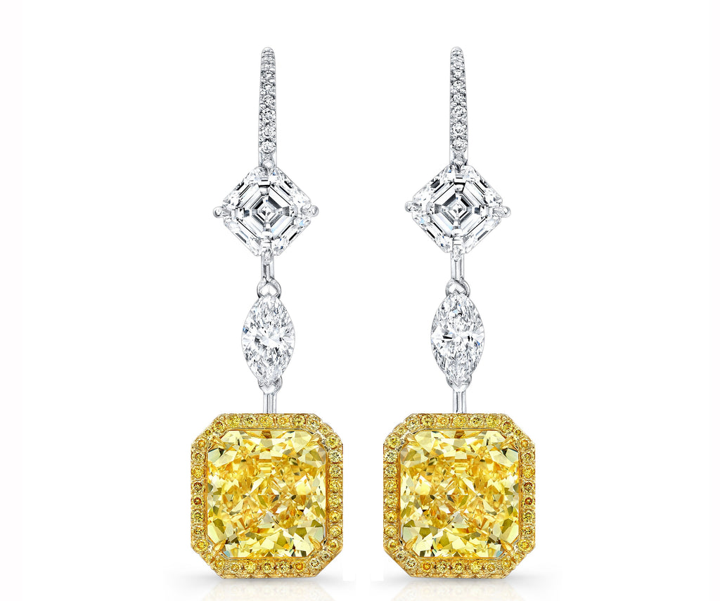 Miss Diamond Ring radiant fancy yellow and white diamond chandelier earrings