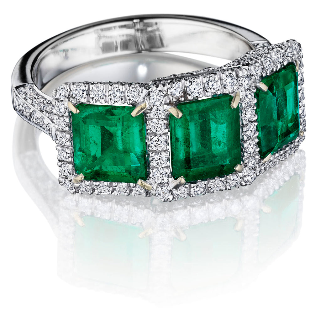 2.5 ct Three Stone Emerald Ring