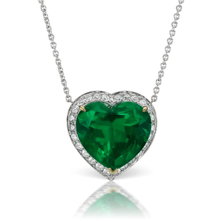 20 ct Colombian Emerald Heart Shaped Pendant
