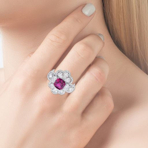 Floral Lace 3.11 Ct. Pink Sapphire Diamond Ring