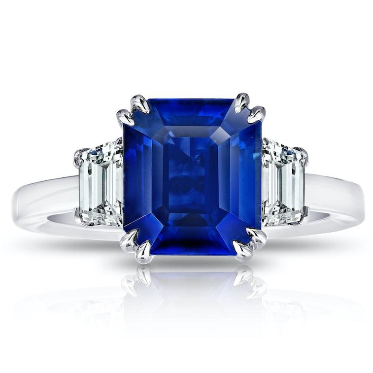 5.98 ct Three Stone Blue Sapphire Ring with Trapezoid Diamonds