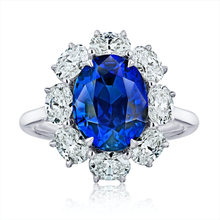 5.7 ct Halo Oval Blue Sapphire Ring, Platinum