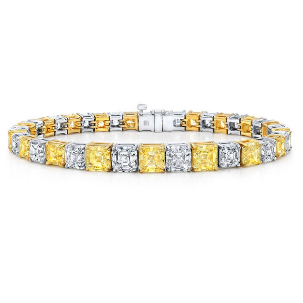 26.8 ct Yellow, White Diamond Tennis Bracelet