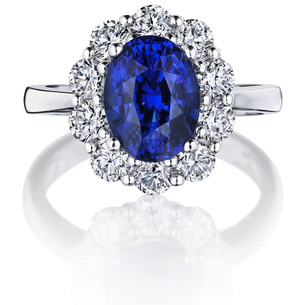 3.2 ct Halo Blue Sapphire Ring