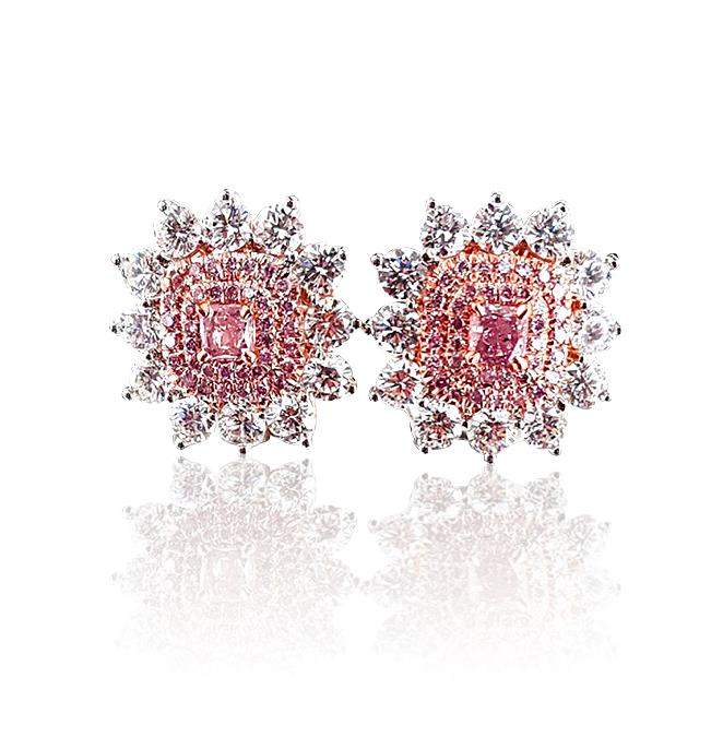 3.4 ct Fancy Intense Purplish Pink Diamond Earrings