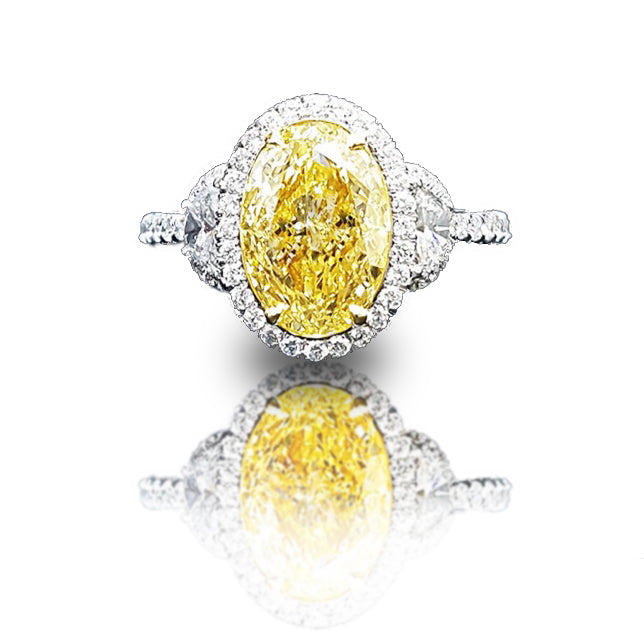 3 ct Three Stone Halo Yellow Diamond Ring
