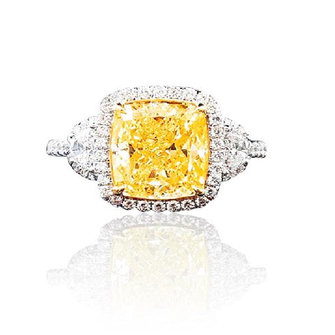 4 ct Halo Fancy Yellow Diamond Ring