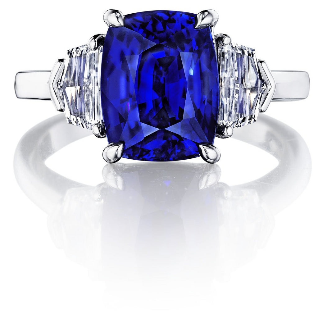 4.6 ct Three Stone Royal Blue Sapphire Ring