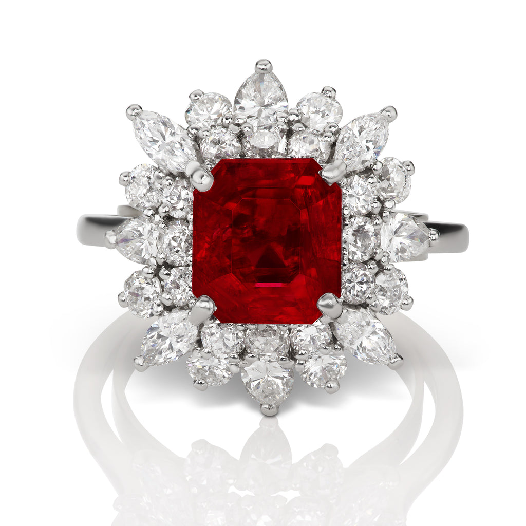 4.7 ct Flower Burmese Ruby Ring