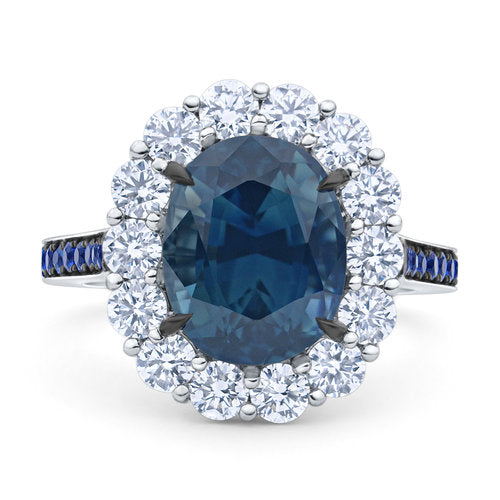 4.9 ct Halo Blue Sapphire Ring