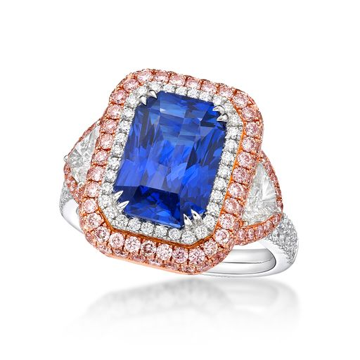 6 Ct. Blue Sapphire Ring with Pink Sapphires and Diamonds
