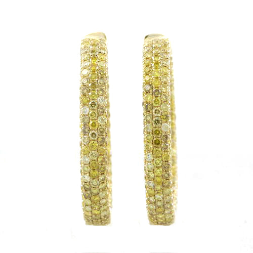 6 ct Yellow Sunshine Diamond Hoop Earrings