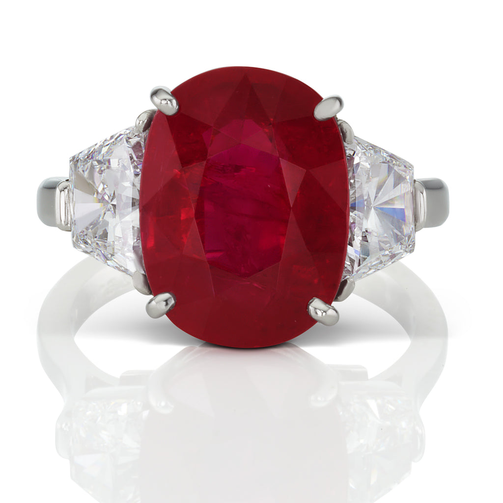 6.9 ct Three Stone Mozambique Ruby Ring