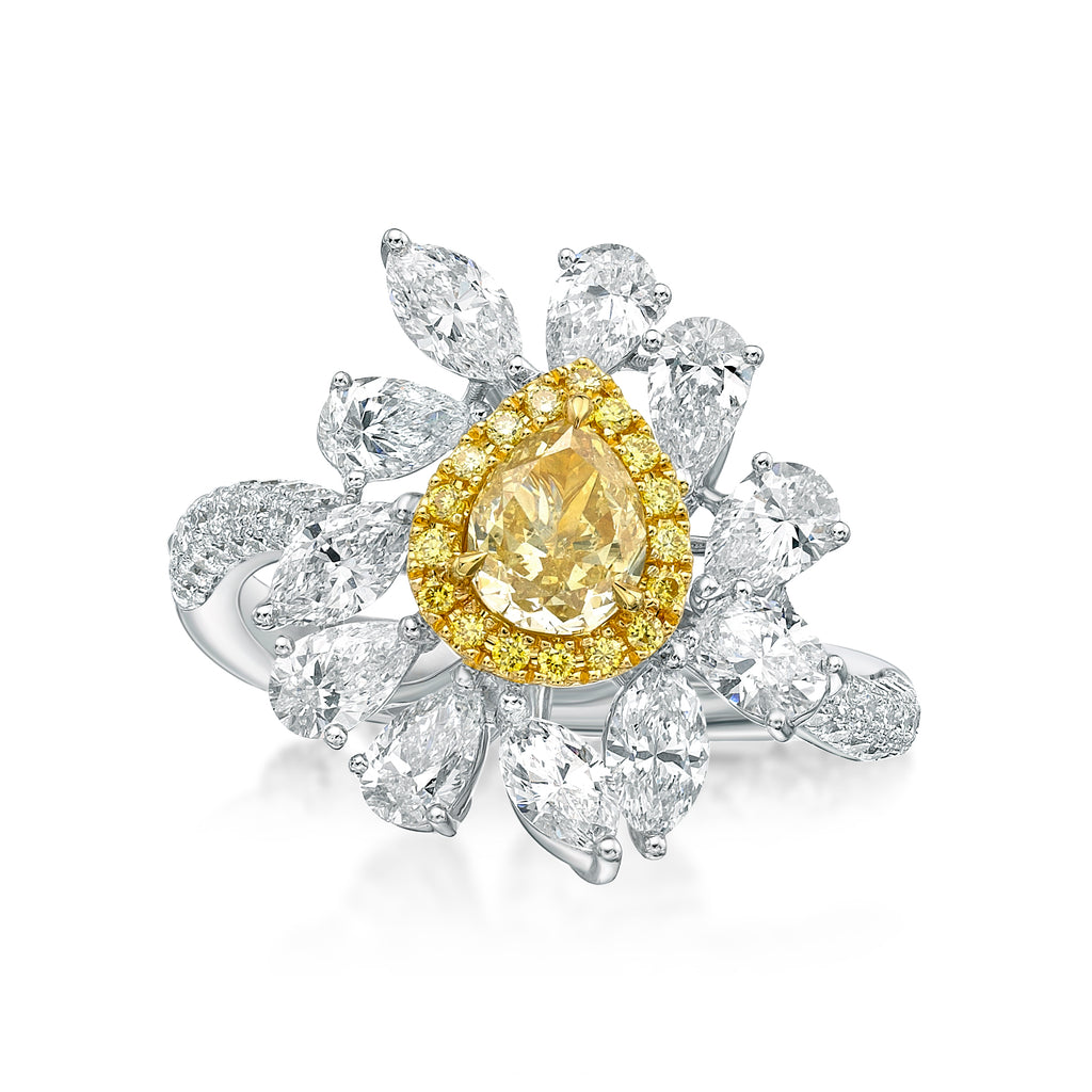 Miss Diamond Ring Flower Fancy Yellow Diamond Cocktail Jewelry
