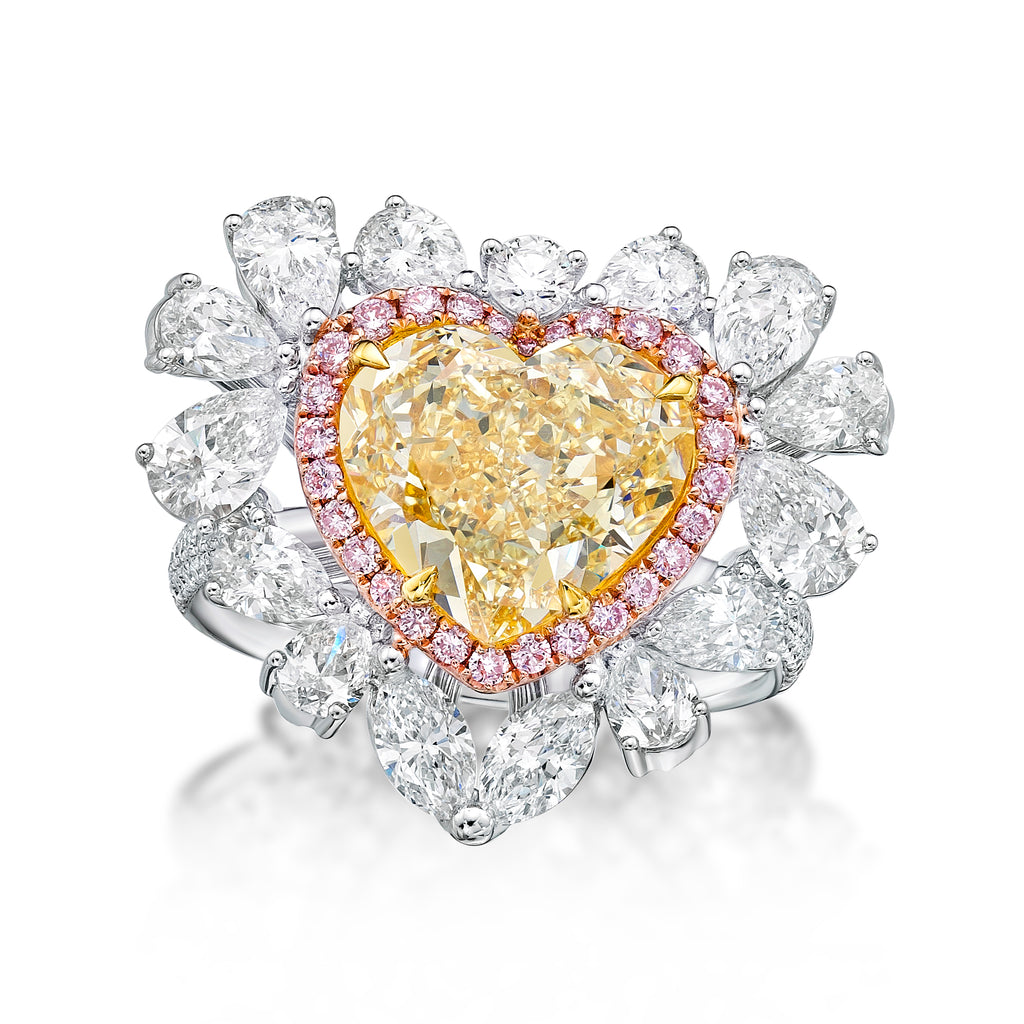 8.5 carat Yellow Diamond Heart Ring