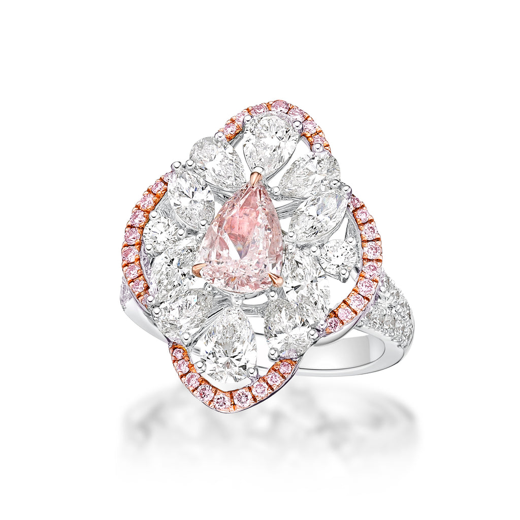 Miss Diamond Ring floral ring with pink and white diamonds