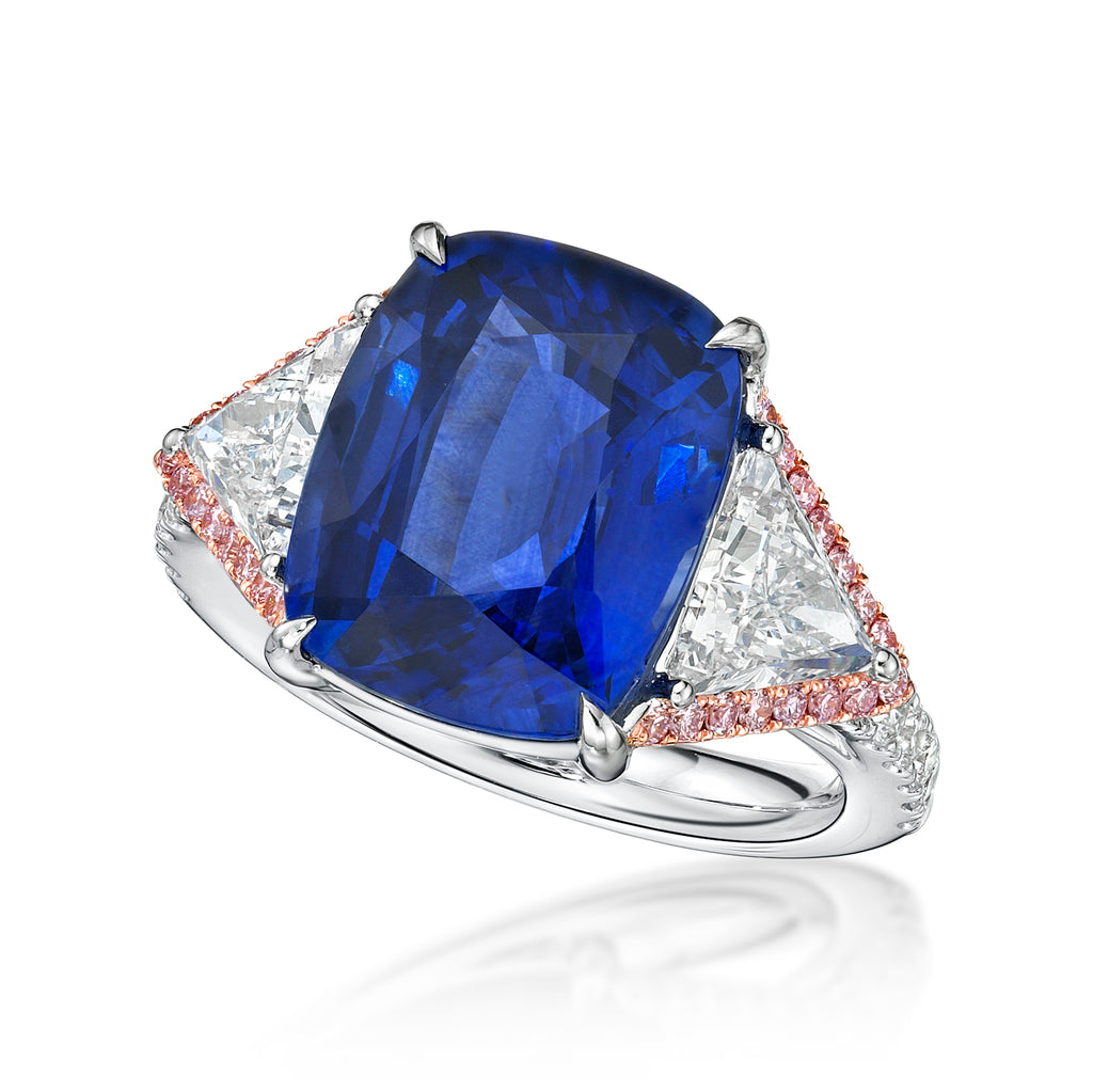 9 ct Three Stone Blue Sapphire Diamond Ring