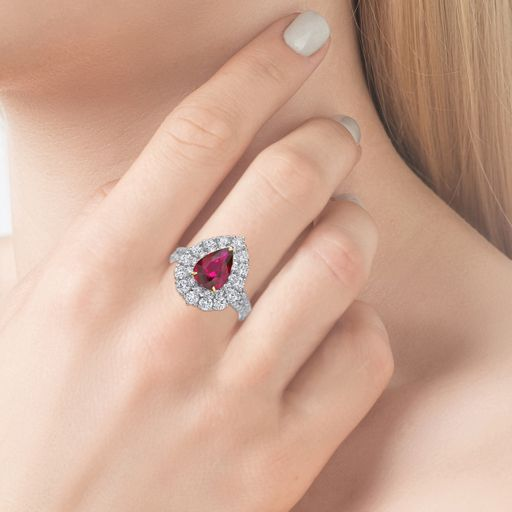 2.17 Ct. Pear Pink Ruby Diamond Ring