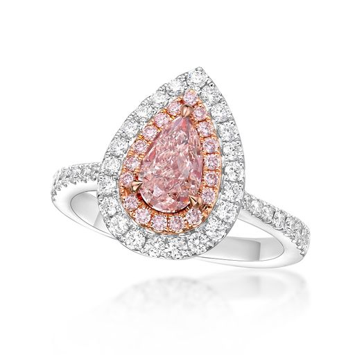 Pear Light Pink Sapphire Diamond Ring