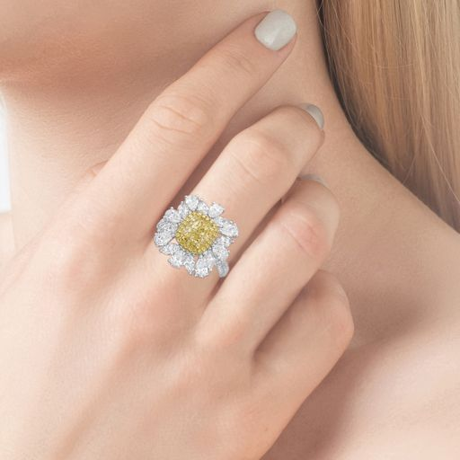 Floral 2.08 Ct. Fancy Yellow Diamond Ring