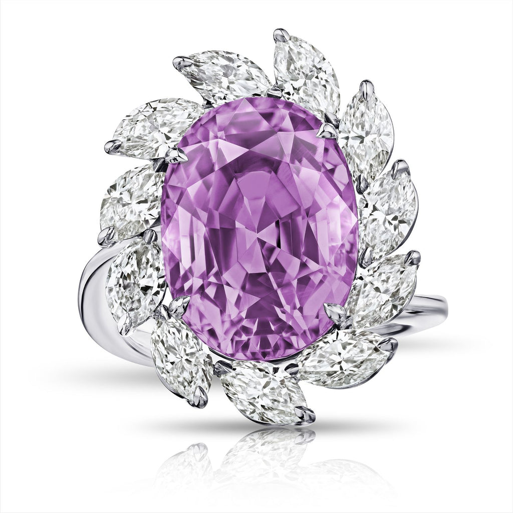 13 ct Oval Pink Sapphire Ring, Platinum