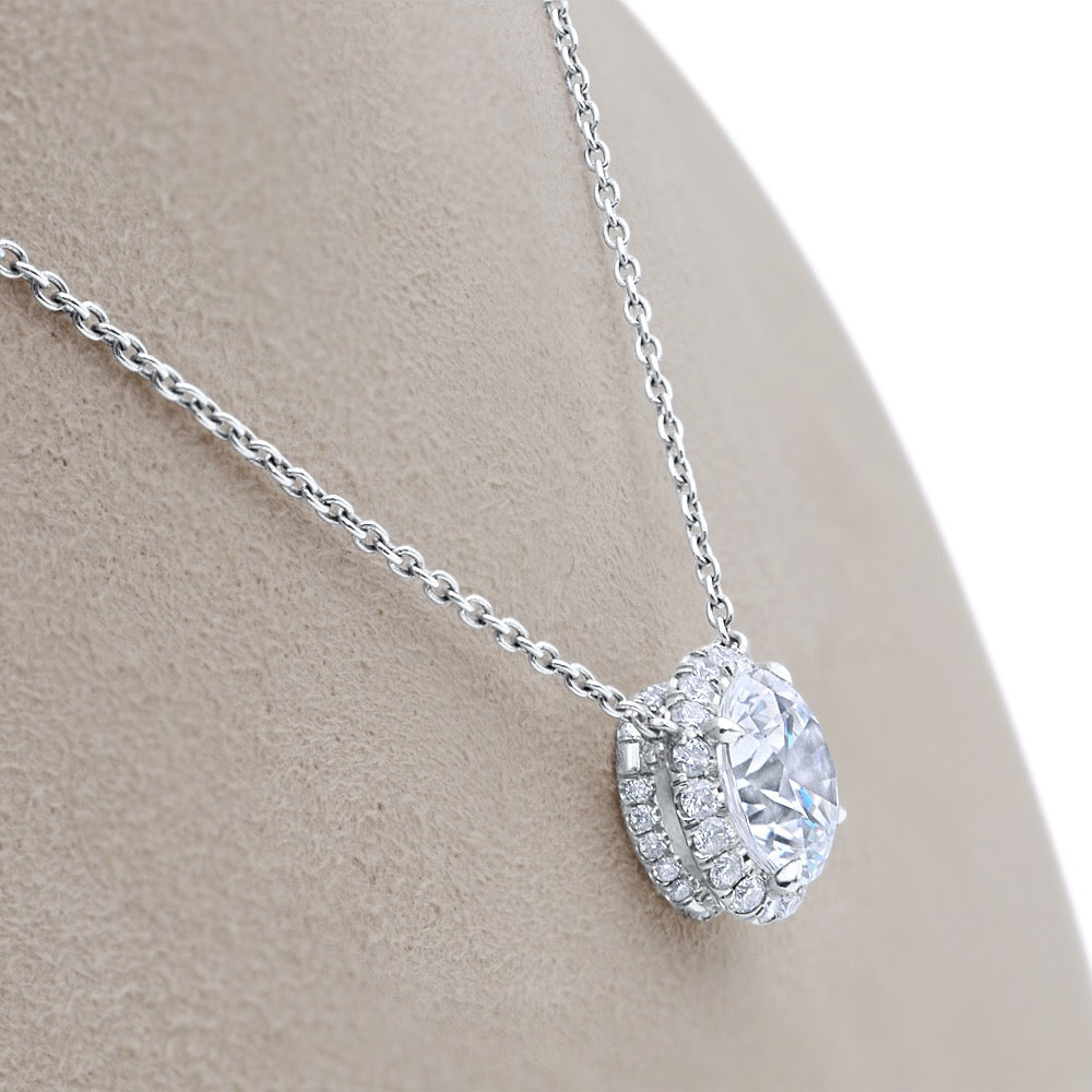Bespoke Halo Diamond Pendant Necklace