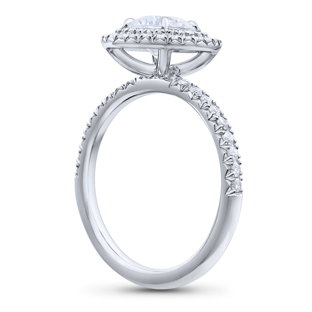 Double Halo Round Brilliant Cut Pave Diamond Engagement Ring