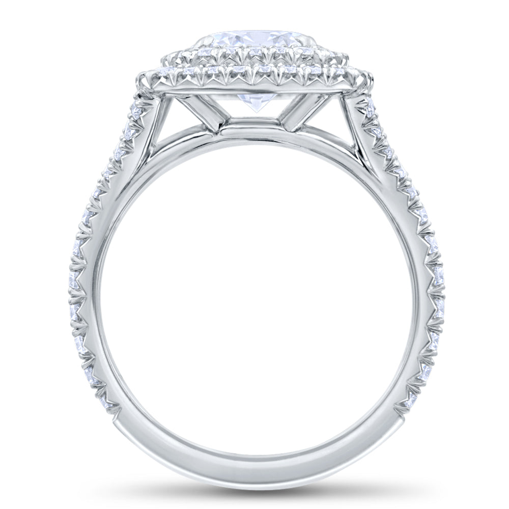 Custom Double Halo Round Brilliant Diamond Engagement Ring