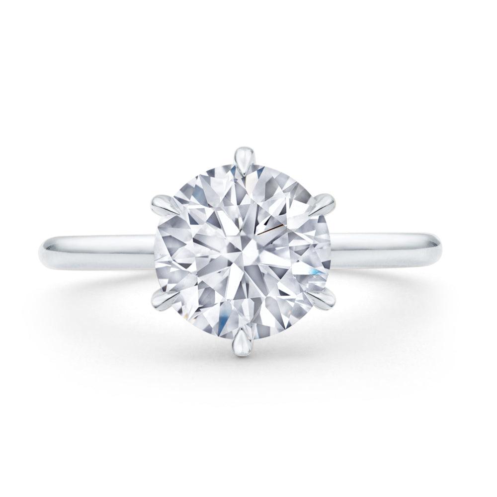 Custom Elegant Solitaire Round Brilliant Cut Diamond Engagement Ring