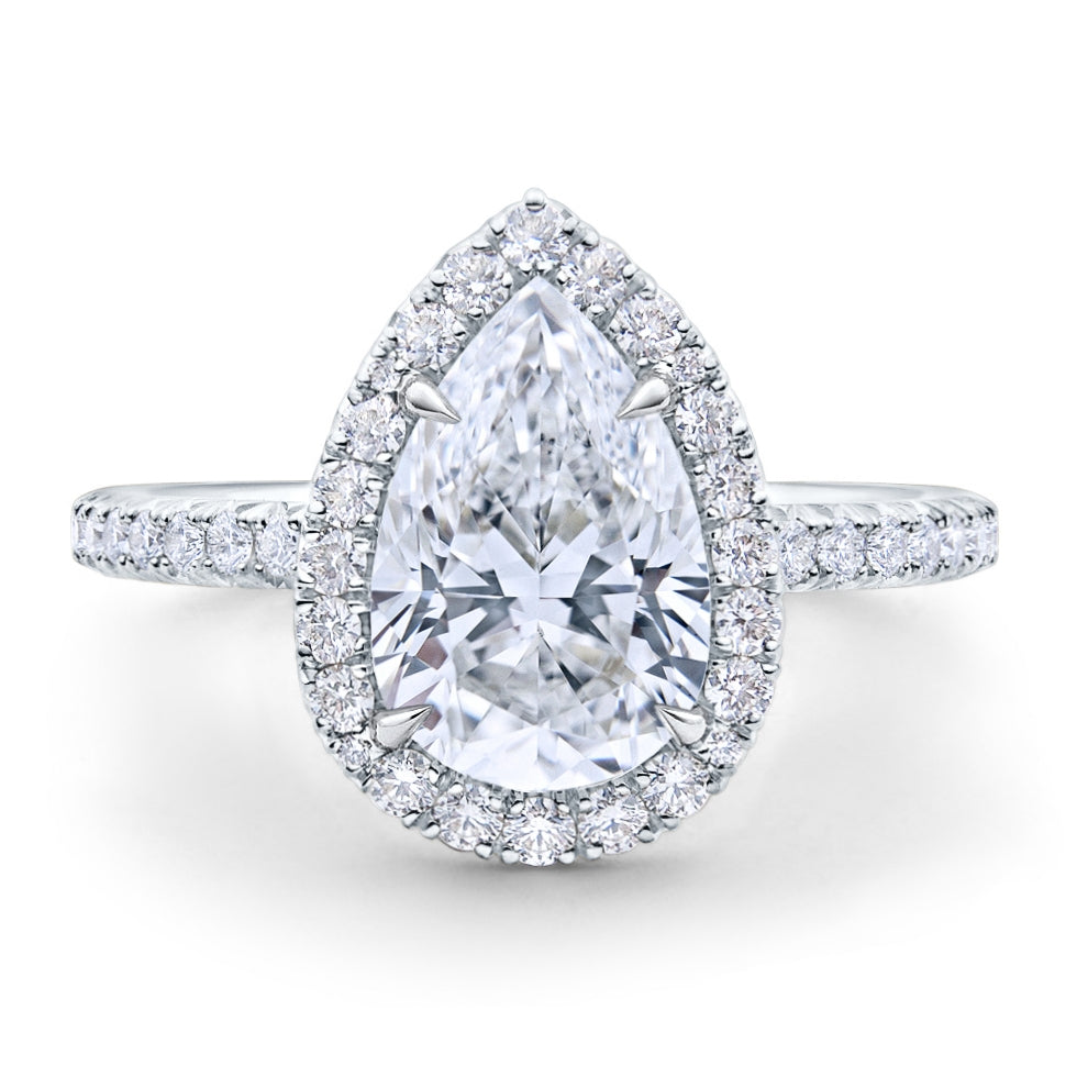 Custom Halo Pear Brilliant Diamond Engagement Ring Pave Band