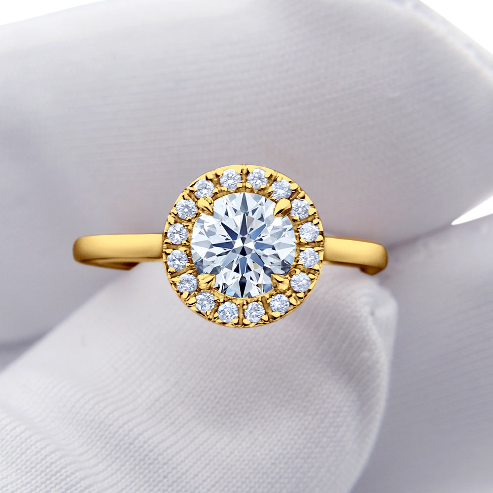 Custom Halo Round Brilliant Diamond Engagement Ring Round Band