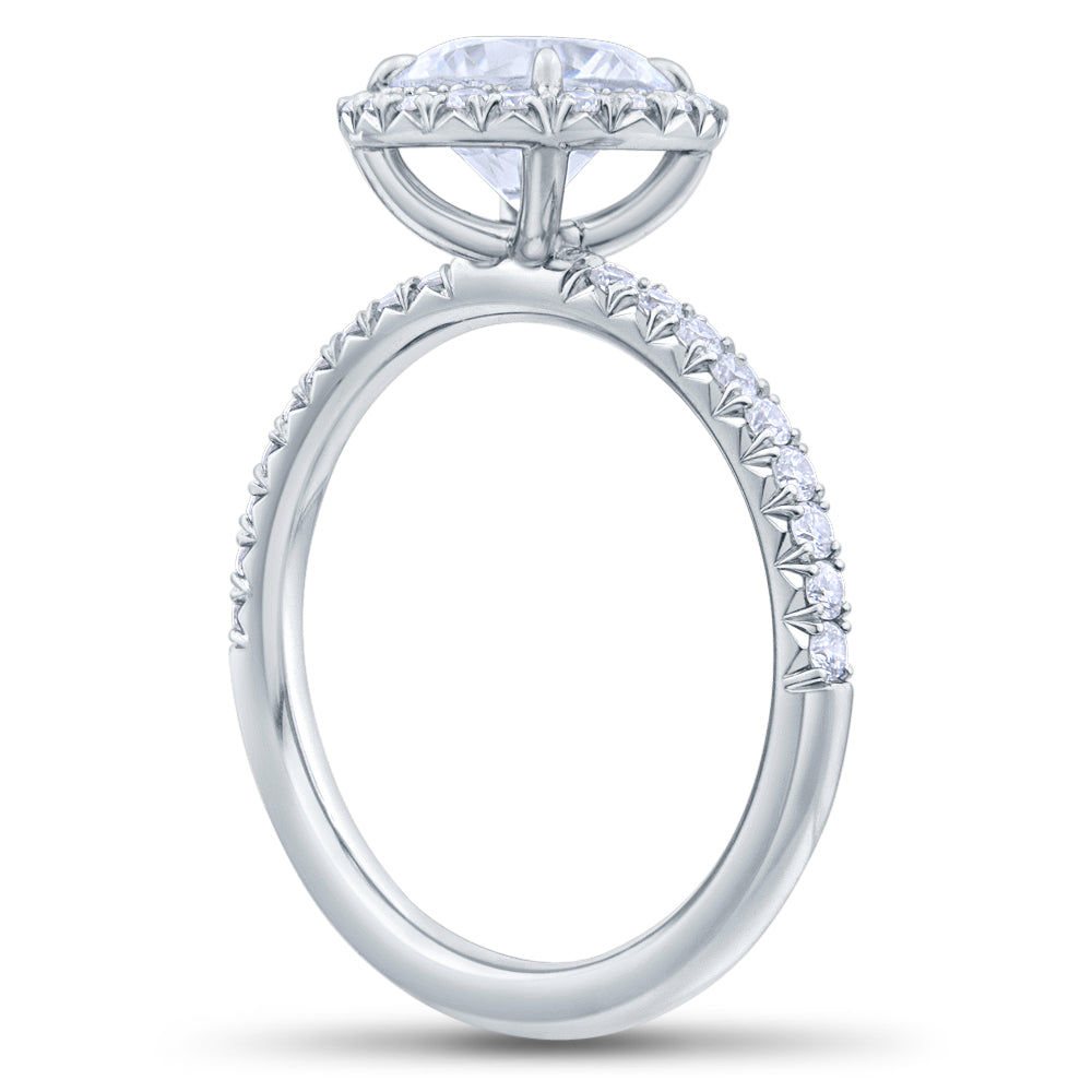 Halo Round Brilliant Cut Pave Diamond Engagement Ring