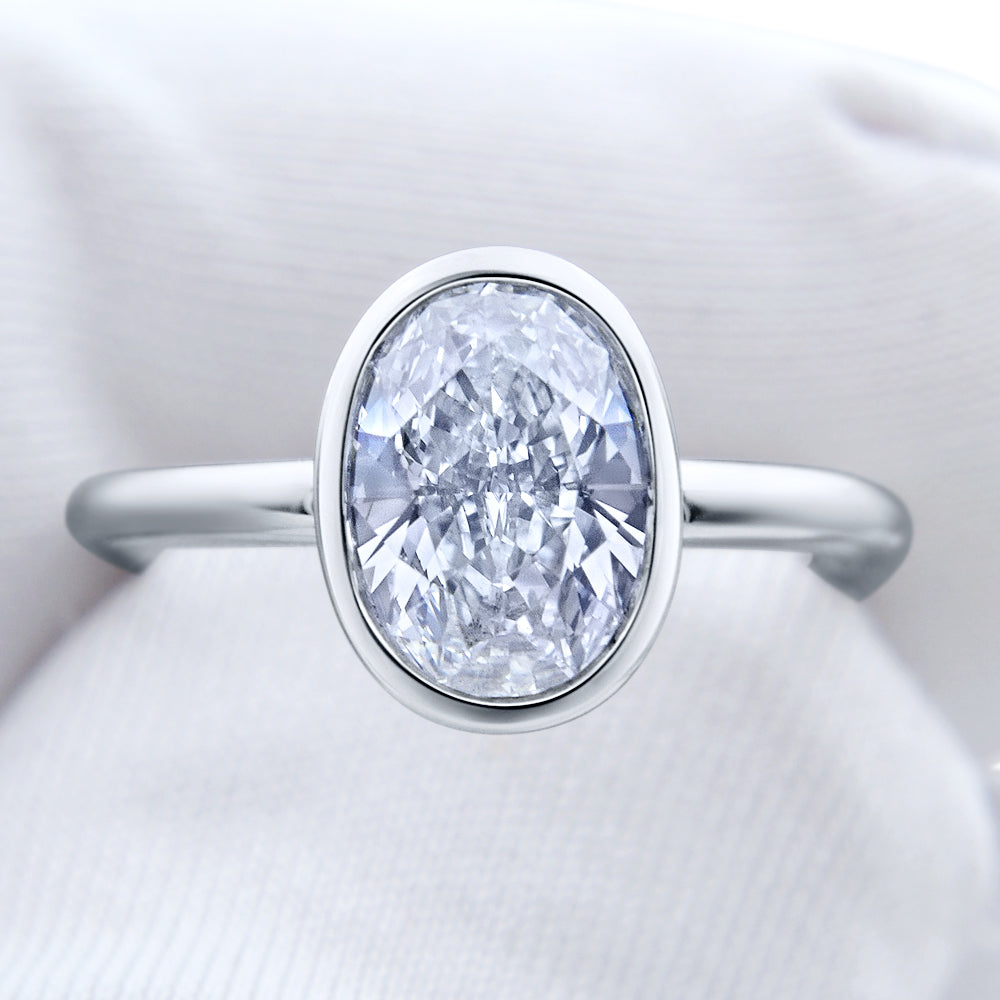 Custom Bezel Oval Brilliant Cut Diamond Engagement Ring