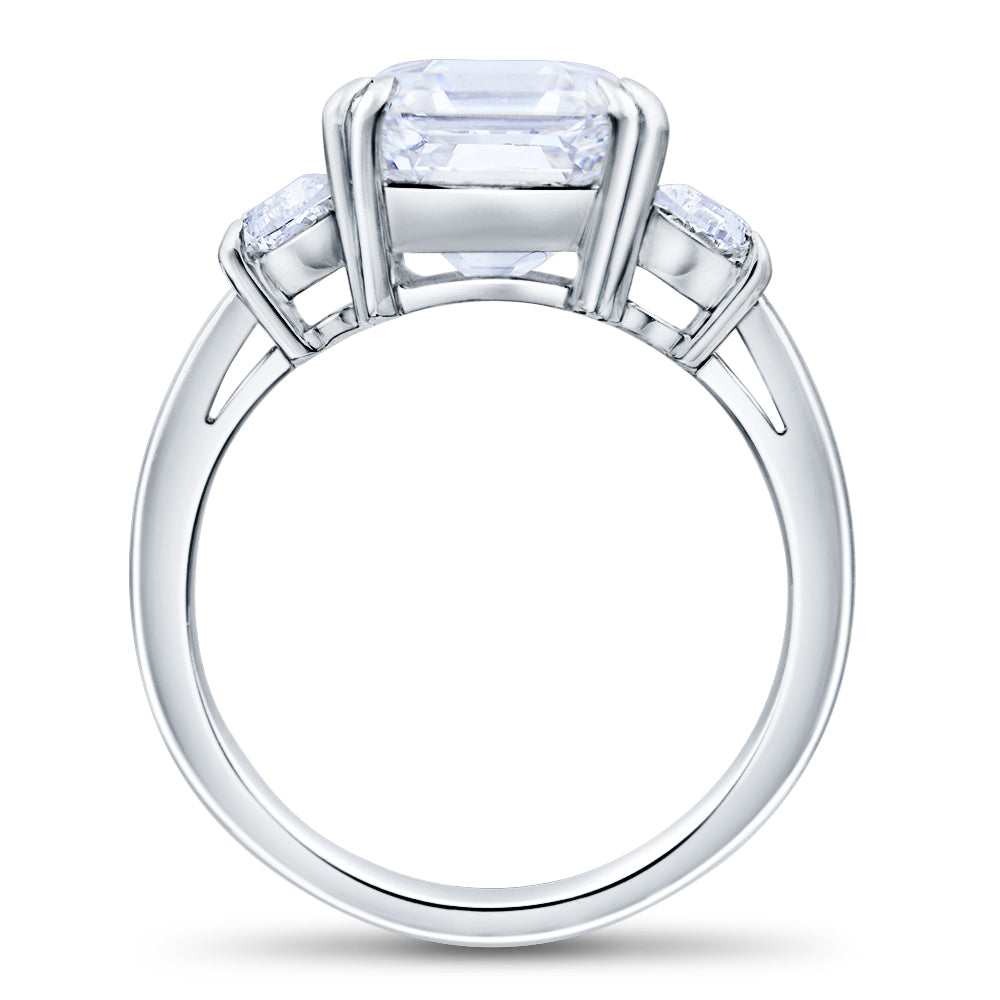 Custom Three Stone Asscher Brilliant Diamond Engagement Ring Squared Band