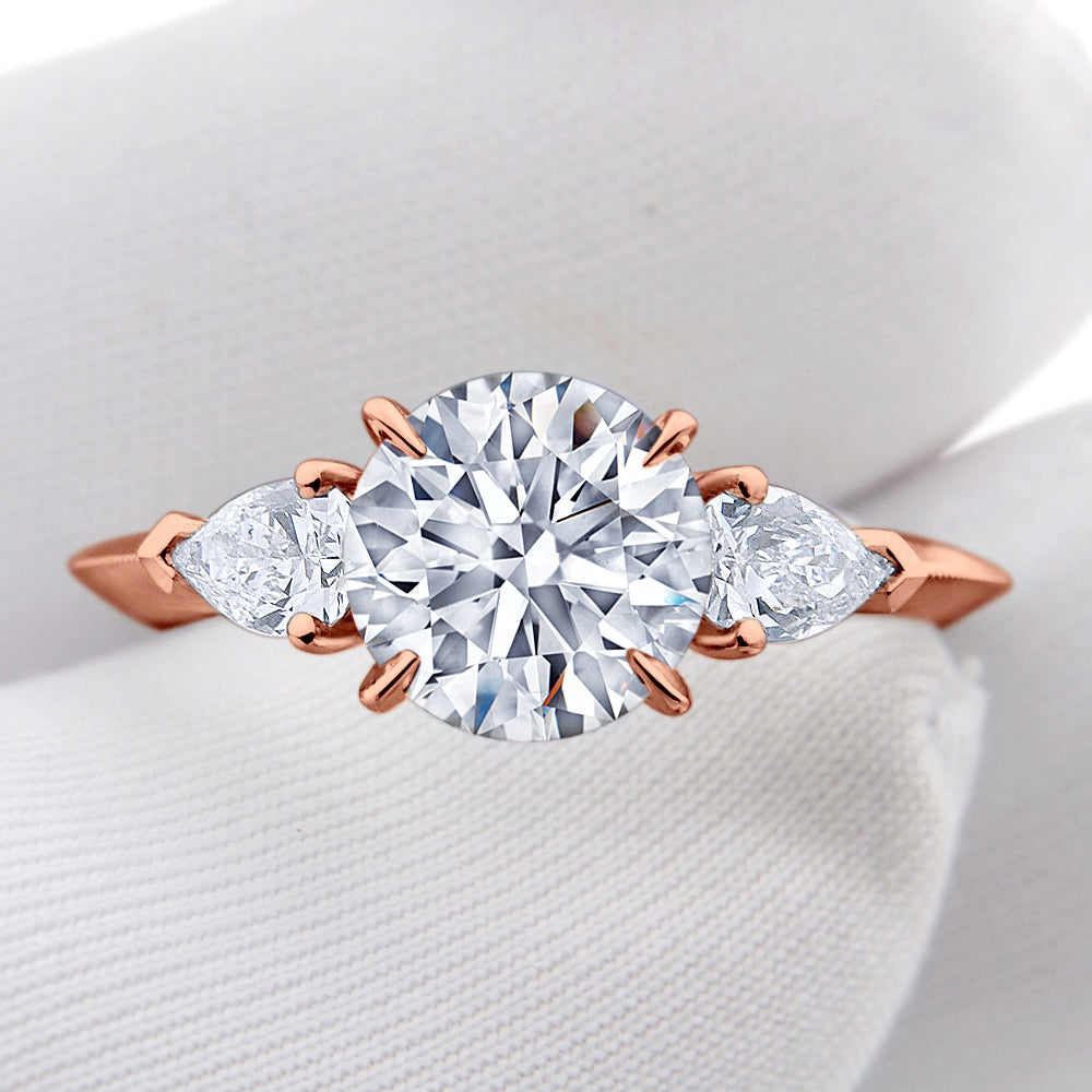 Custom Three Stone Round Brilliant Diamond Engagement Ring Milgrain Band